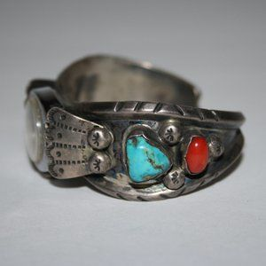 Vintage Sterling silver turquoise coral cuff watch